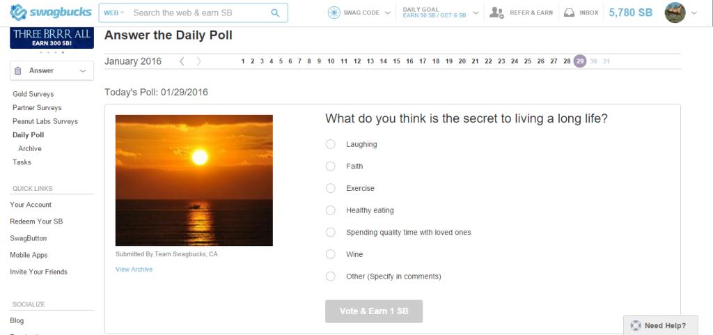 earn swagbucks with daily poll