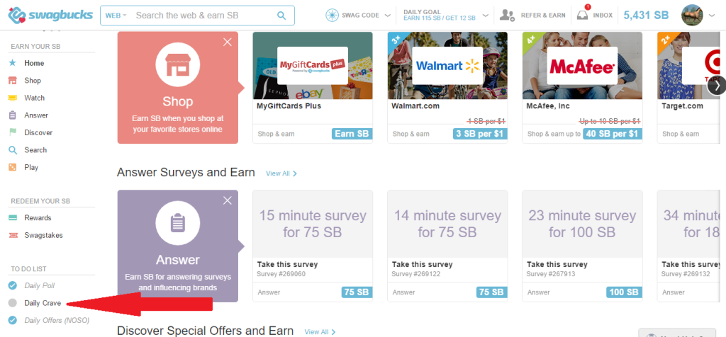 Earn Swagbucks with Daily Crave