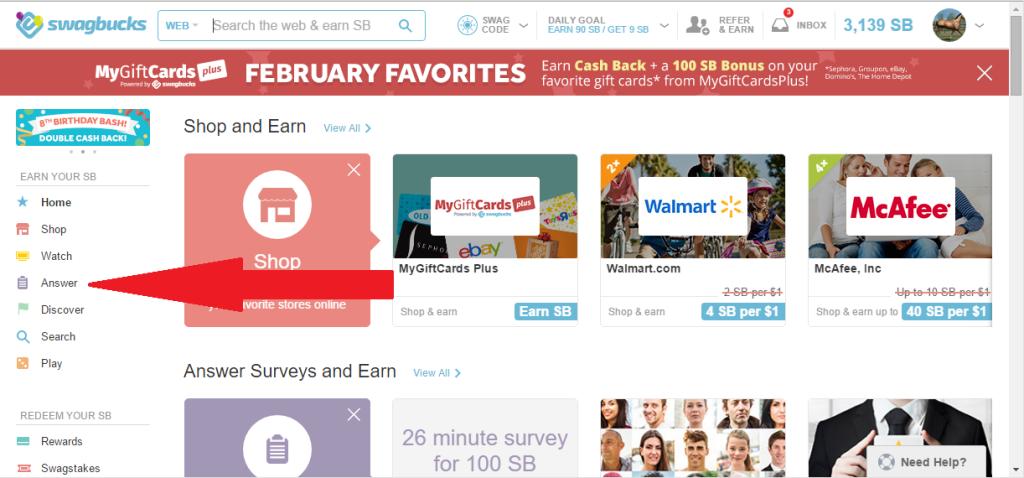 earn giftcards with swagbucks surveys